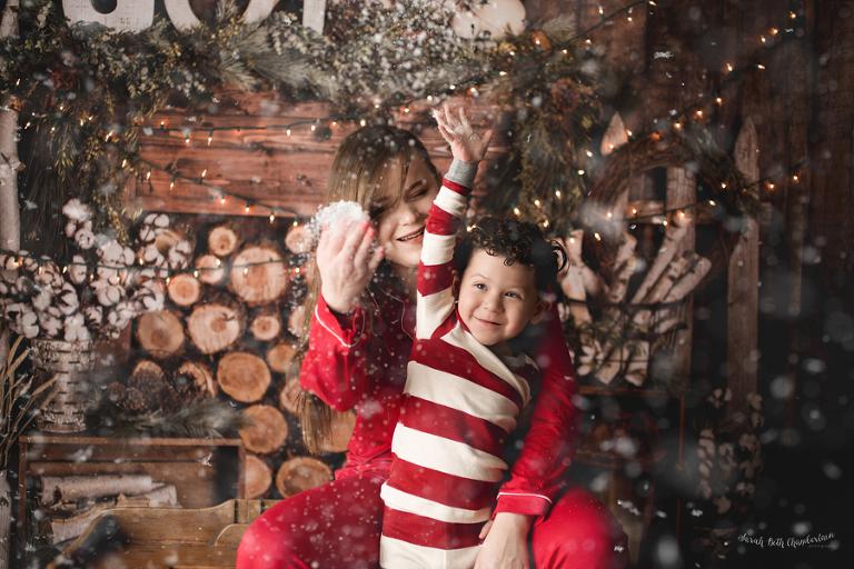 Marina & Leo | Holiday Photos | Las Vegas Family Photographer | Christmas Pajamas | Christmas Mini-Session | Holiday Cards | Fake Snow | Cabin Backdrop
