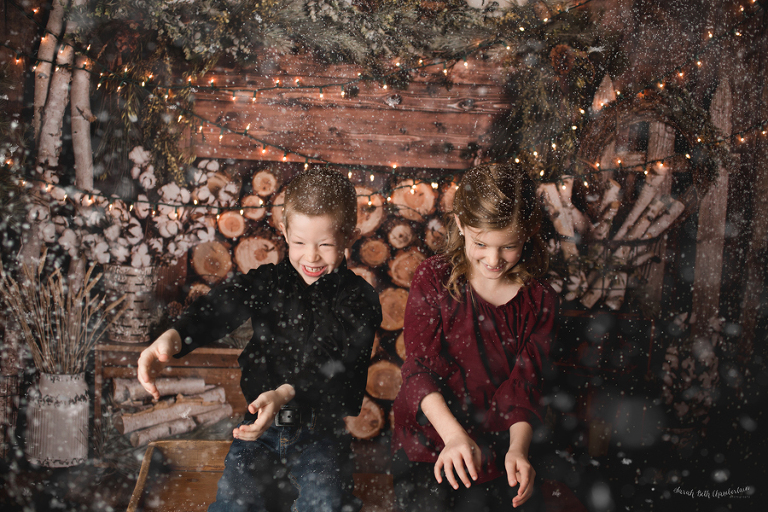 Christmas Portraits   Las Vegas Family Photographer   Fake Snow   Holiday Cards   Family Pictures   Cabin Backdrop   Studio Photography