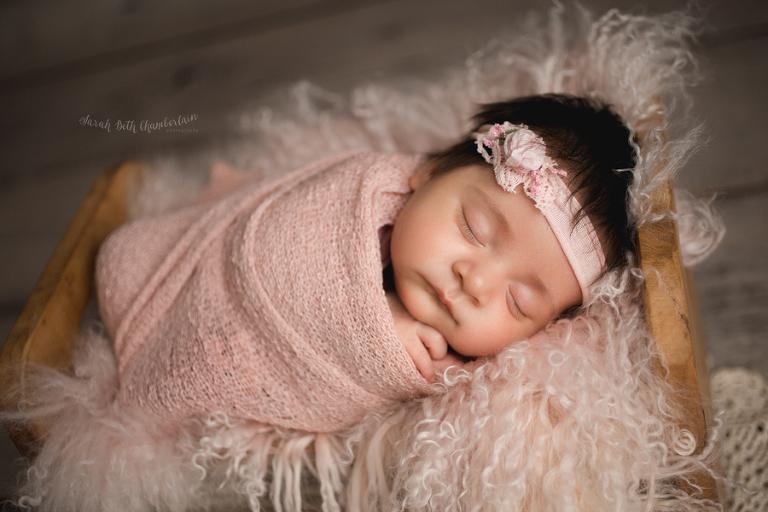Newborn Session   Las Vegas Newborn Photographer   Baby Photographer   Baby Portraits   Studio   Baby Girl   Pink Newborn Props   Headband   Tieback   Little Bed   Parent Poses