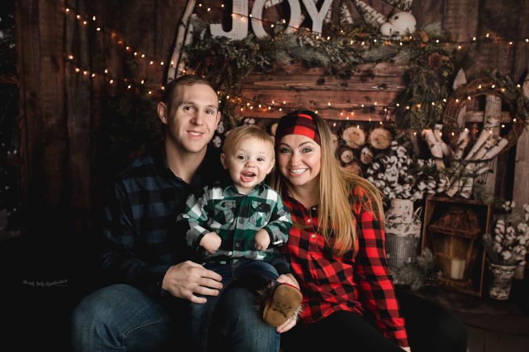 Kelly & Doug {Holiday Portraits} | Las Vegas Family & Baby Photographer | Toddler Photography | Christmas Photos | Studio | Cabin Backdrop | Snow