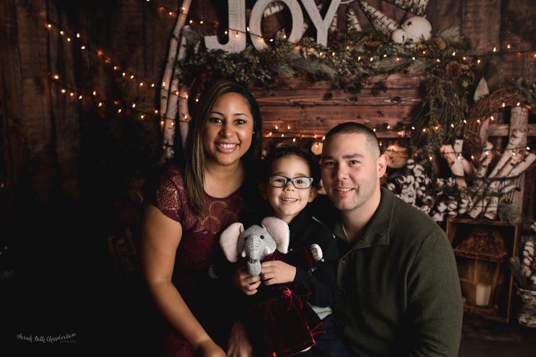 Holiday Portraits | Las Vegas Family & Baby Photographer | Child Photography | Christmas Photos | Studio | Cabin Backdrop | Snow