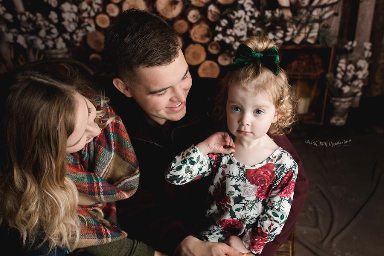Holiday Portraits   Las Vegas Family & Baby Photographer   Child Photography   Christmas Photos   Studio   Cabin Backdrop   Snow