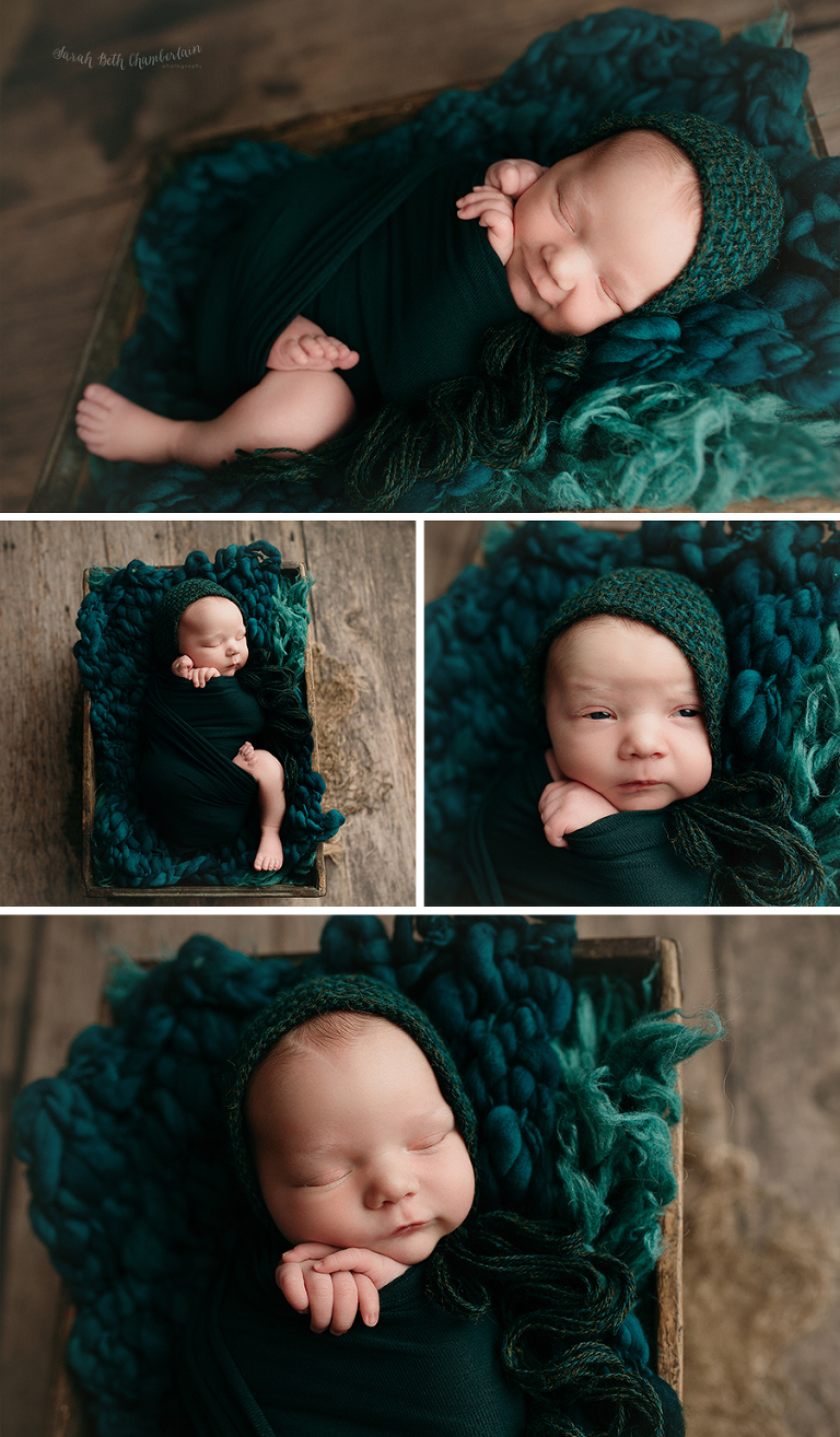 Rory | Newborn Session | Las Vegas Newborn Photographer | Family & Baby Photography | Baby Boy | Prop Poses | Teal Bonnet | Baby Smile | Teal Props | Bump Blanket | Flokati | Wooden Crate