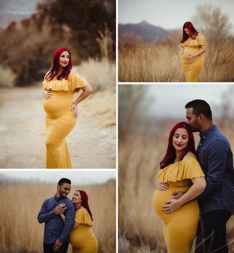 Pregnancy Photos | Las Vegas Maternity Photographer | Maternity Dresses | Teal Maternity Dress | Sew Trendy Accessories | Cherry Hair
