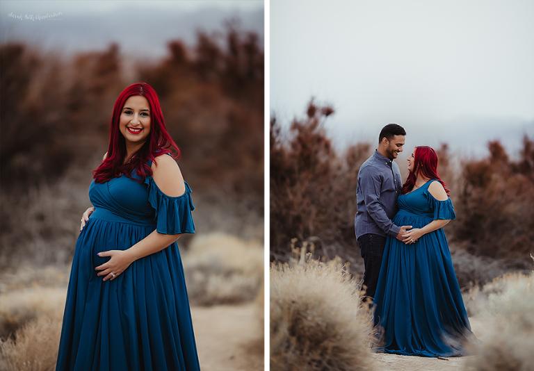 Pregnancy Photos | Las Vegas Maternity Photographer | Maternity Dresses | Teal Maternity Dress | Sew Trendy Accessories | Cherry Hair