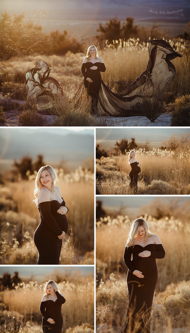 Las Vegas Maternity Photographer | New Parents | Desert Backdrop | Maternity Gown | Sew Trendy Accessories | Maternity Clothes
