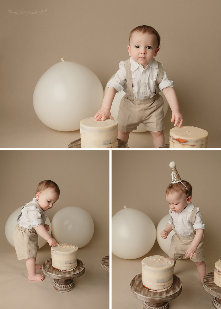 Twin Cake Smash | Las Vegas Baby Photographer | Simple Cake Smash | Naked Cake | Cake Stands | Fraternal Twins | Neutral Props