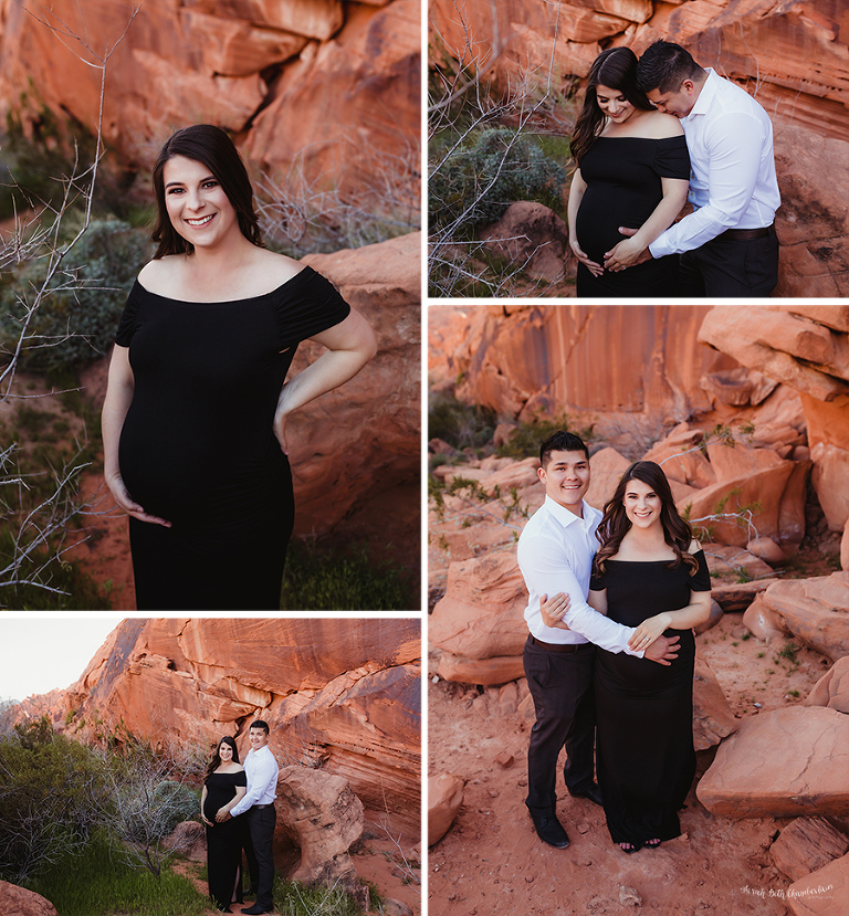 Las Vegas Maternity Photographer | Maternity Dress | Gowns | Studio Wardrobe | Pregnancy | Plum Purple Dress | Black Dress | Valley of Fire Sate Park | Valley of Fire Maternity