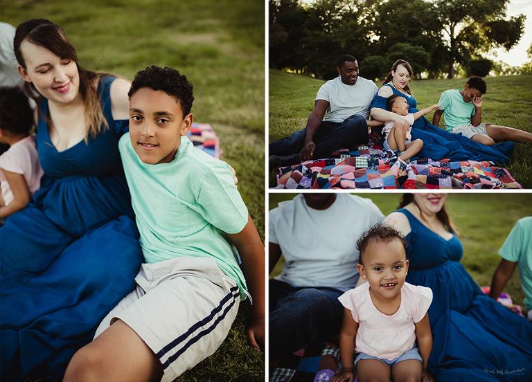 Maternity Mini-Session | Las Vegas Maternity Photographer | Pregnancy Photography | Baby Bump | Family Photography | Blue Maternity Dress | Sew Trendy Accessories | Rainbow Quilt