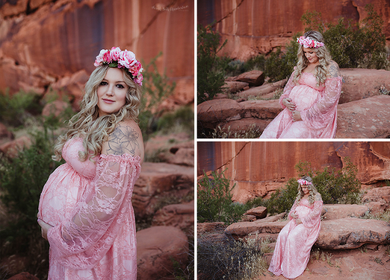 Maternity Portraits | Las Vegas Maternity Photographer | Pregnancy Photos | Lace Maternity Dress | Boho Maternity Dress | Sew Trendy Accessories
