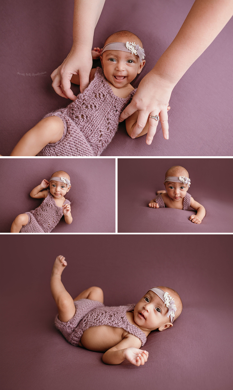 Las Vegas Baby Photographer | Milestone Session | Three-Month-Old| Baby Girl | Purple Romper | Tieback | Neutrals | Three Months