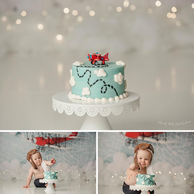 Carson {Aviator Cake Smash Session} | Las Vegas Baby Photographer | Baby Boy | Airplane Smash Cake | Retro Bakery | Clouds | Pilot Hat | Toy Plane
