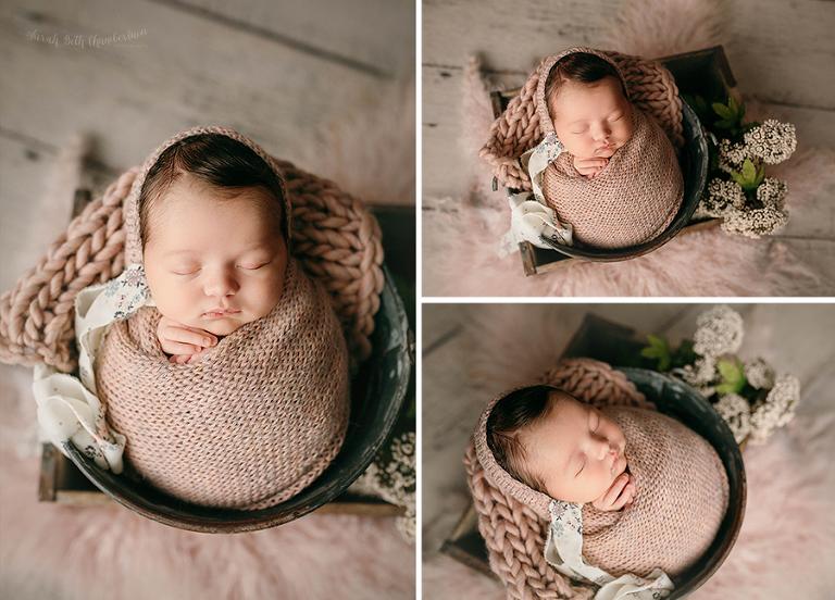 Eleanor {Newborn Session} | Las Vegas Newborn Photographers | Baby Photos | Newborn Photography Studio | Baby Girl | Newborn Hair | Bucket Posing | Wrapped Many | Knit Bonnet | Alpine Lane Props | Floral