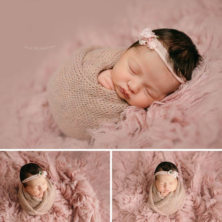 Eleanor {Newborn Session} | Las Vegas Newborn Photographers | Baby Photos | Newborn Photography Studio | Baby Girl | Newborn Hair | Pink Flokati | Wrapped | Headband | Pink